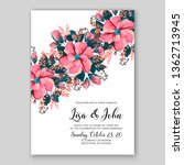 rose wedding invitation floral... | Shutterstock .eps vector #1362713945
