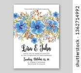 floral wedding invitation with... | Shutterstock .eps vector #1362714992