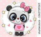 cute cartoon baby panda girl... | Shutterstock .eps vector #1362739265