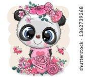 cute cartoon panda with flowers ... | Shutterstock .eps vector #1362739268