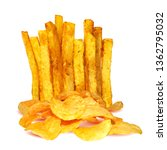 french fries and potato chips... | Shutterstock .eps vector #1362795032