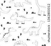 cute dinosaurs seamless pattern.... | Shutterstock .eps vector #1362803312