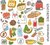 set of diet food kawaii doodle | Shutterstock .eps vector #1362811925