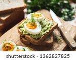 healhy breakfast toast with... | Shutterstock . vector #1362827825