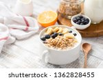 healthy breakfast food granola... | Shutterstock . vector #1362828455