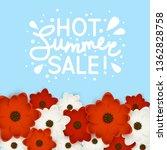 red and white flowers border... | Shutterstock .eps vector #1362828758