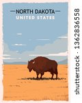 North Dakota Retro Poster. Usa...