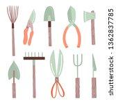 garden tools vector... | Shutterstock .eps vector #1362837785