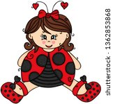 cute girl dressed as a ladybug    Shutterstock .eps vector #1362853868