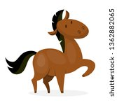 Horse wild or domestic animal. Brown mammal from the farm. Isolated vector illustration in cartoon style