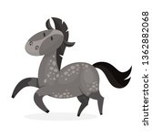 Horse wild or domestic animal. Grey mammal from the farm. Isolated vector illustration in cartoon style