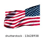 American Flag Over White...