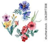 wildflower bouquet floral...   Shutterstock . vector #1362897308