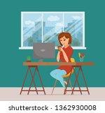 woman working on computer...   Shutterstock .eps vector #1362930008