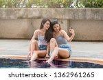 selfie time  girls   young... | Shutterstock . vector #1362961265