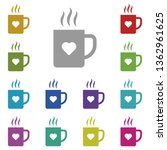 cup with heart multi color icon....