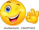 smiley emoticon with ok sign | Shutterstock .eps vector #136297622