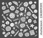 set of doodle cookies  waffles... | Shutterstock .eps vector #1363009205