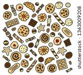 set of doodle colored cookies ... | Shutterstock .eps vector #1363009208