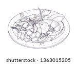 delicious salad with seafood... | Shutterstock .eps vector #1363015205