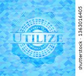 utilize light blue mosaic emblem