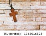 Christian Wooden Cross On Desk