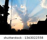 sunbeams shining through the... | Shutterstock . vector #1363022558
