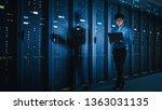 In Dark Data Center  Male It...