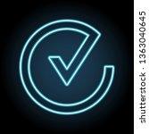 check in circle neon icon....