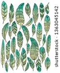 green feathers pattern | Shutterstock . vector #1363045142