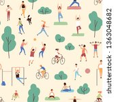 seamless pattern with men and... | Shutterstock .eps vector #1363048682