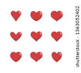 heart icon set  love symbol.... | Shutterstock .eps vector #1363052402