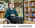 content handsome young disabled ... | Shutterstock . vector #1363058285