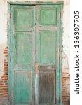 Old Door In A Crumbling Building
