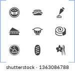 bakery icon set and colander...