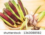 Fresh Red Corn On Rustic Wooden ...