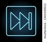 rewind button symbol sign neon...
