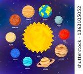 set of bright cartoon planets... | Shutterstock .eps vector #1363105052