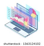 laptop with information about... | Shutterstock .eps vector #1363124102