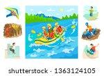 people in boat rafting vector ... | Shutterstock .eps vector #1363124105