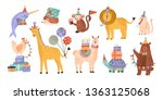 collection of cute adorable... | Shutterstock .eps vector #1363125068