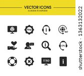 support icons set with loupe...