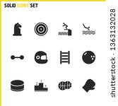 exercise icons set with chess...