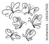 butterflies hand drawn line art ... | Shutterstock .eps vector #1363167632