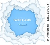 clouds paper cut background.... | Shutterstock .eps vector #1363184735