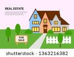 cottage for sale agency offer... | Shutterstock .eps vector #1363216382