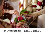 indian bride and groom holding... | Shutterstock . vector #1363218692