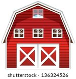 Illustration of a red barn house on a white background - stock vector