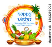 illustration of happy vishu new ... | Shutterstock .eps vector #1363299008