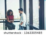 discussions in the business... | Shutterstock . vector #1363305485